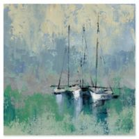 Trademark Fine Art Boats in Harbor II 24-Inch Square Canvas Wall Art