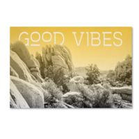 """Trademark Fine Art Ombre I """"Good Vibes"""" 19-Inch x 12-Inch Canvas Wall Art"""