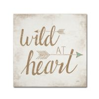 "Trademark Fine Art ""Wild at Heart"" 24-Inch Square Canvas Wall Art in Beige"