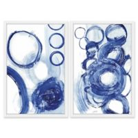 Marmont Hill Painted Blue Circles Diptych 30-Inch x 40-Inch Framed Wall Art
