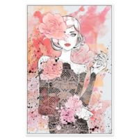 Marmont Hill Floral Girl 24-Inch x 16-Inch Canvas Wall Art