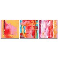 Metal Art Studio Urban Triptych 3 Abstract 3-Piece 38-Inch x 12-Inch Wall Art Set in Pink