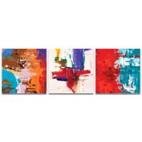 Metal Art Studio Urban Triptych 5 Abstract 3-Piece 38-Inch x 12-Inch Wall Art Set in Red