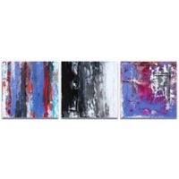 Metal Art Studio Urban Triptych 4 Abstract 3-Piece 70-Inch x 22-Inch Wall Art Set in Red
