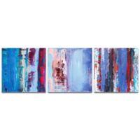 Metal Art Studio Urban Triptych 1 Abstract 3-Piece 70-Inch x 22-Inch Wall Art Set in Blue
