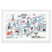 Marmont Hill NY Map III 24-Inch x 16-Inch Wall Art