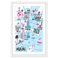 Marmont Hill Miami's Iconic Sights 40-Inch x 60-Inch Framed Wall Art