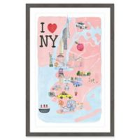 Marmont Hill I Love NY Site Map 16-Inch x 24-Inch Framed Wall Art
