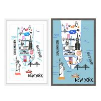 Marmont Hill NY by Car and Boat 40-Inch x 60-Inch Framed Print in White