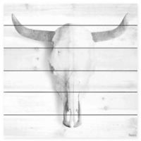 Parvez Taj Horned Skull 18-Inch Square Wood Wall Art