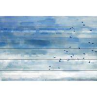 Parvez Taj Blue Sky Birds 36-Inch x 24-Inch Wood Wall Art