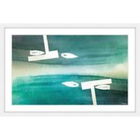 Parvez Taj Fishing Boats 36-Inch x 24-Inch Framed Multicolor Wall Art