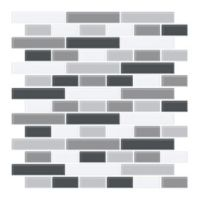 Brewster Home Fashions Smoked Glass Peel & Stick Tiles in Black (Set of 4)