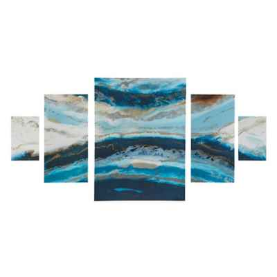 Madison Park Midnight Tide 5-Panel Canvas Wall Art