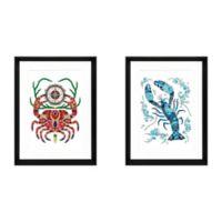 "Stylecraft ""Crab and Lobster"" 2-Piece Framed Print Wall Art Set"