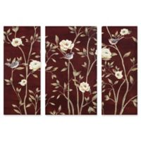 """Asian Floral"" 3-Piece Canvas Wall Art Set"