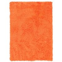 Linon Home Faux Sheepskin 1-Foot 8-Inch x 2-Foot 6-Inch Accent Rug in Orange