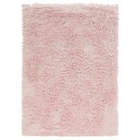 Linon Home Faux Sheepskin 1-Foot 8-Inch x 2-Foot 6-Inch Accent Rug in Pink