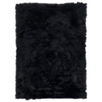Linon Home Faux Sheepskin 3-Foot x 5-Foot Area Rug in Black