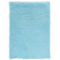 Linon Home Faux Sheepskin 3-Foot x 5-Foot Area Rug in Blue