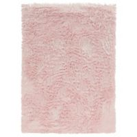 Linon Home Faux Sheepskin 5-Foot x 7-Foot Area Rug in Pink