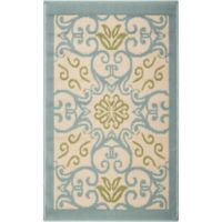 "Nourison Caribbean Indoor/Outdoor 1'9"" x 2'9"" Accent Rug in Ivory/Blue"