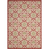 "Nourison Caribbean Indoor/Outdoor 9'3"" x 12'9"" Area Rug in Ivory/Rust"