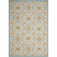 "Nourison Caribbean Indoor/Outdoor 9'3"" x 12'9"" Area Rug in Ivory/Blue"