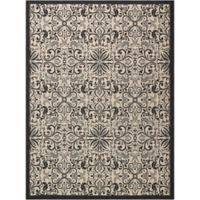 "Nourison Caribbean Indoor/Outdoor 9'3"" x 12'9"" Area Rug in Ivory/Charcoal"