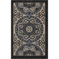 Nourison Caribbean Medallion 1'9 x 2'9 Indoor/Outdoor Accent Rug in Ivory/Charcoal