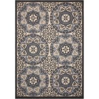 Nourison Caribbean Medallion 3'11 x 5'11 Indoor/Outdoor Area Rug in Ivory/Charcoal