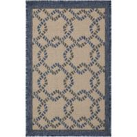 Nourison Caribbean Ropes 1'9 x 2'9 Indoor/Outdoor Accent Rug in Ivory/Blue