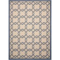 Nourison Caribbean Ropes 7'10 x 10'6 Indoor/Outdoor Area Rug in Ivory/Blue