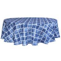 Bardwil Linens Indigo Trellis 70-Inch Round Indoor/Outdoor Tablecloth with Umbrella Hole