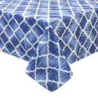 Bardwil Linens Indigo Trellis 70-Inch Square Indoor/Outdoor Tablecloth with Umbrella Hole