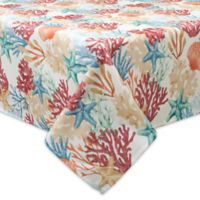 Bardwil Linens Coral Oasis 70-Inch Square Indoor/Outdoor Tablecloth with Umbrella Hole