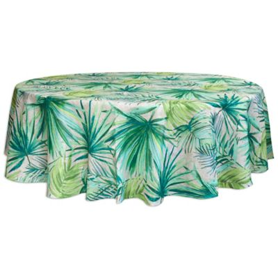 Bardwil Linens Palm 70 Inch Round Indoor/Outdoor Tablecloth With Umbrella  Hole