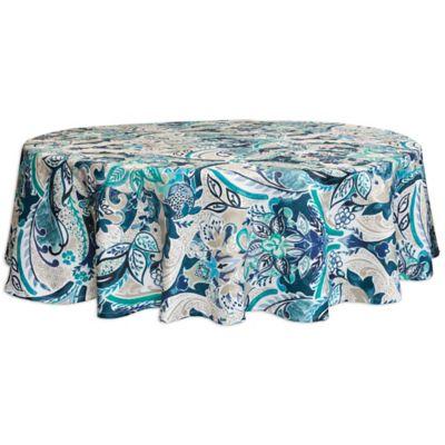 Bardwil Linens Tasha 70 Inch Round Umbrella Indoor Outdoor Tablecloths With Hole