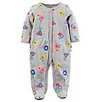 carter's® Size 3M Snap-Up Floral Sleep & Play Footie in Grey