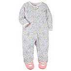 carter's® Size 9M Snap-Up Sleep & Play Floral Footie in White