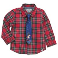 Sovereign Code® Size 24M/2T 2-Piece Christmas Plaid Shirt and Tie Set