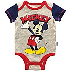 Disney® Size 3M Mickey Mouse Bodysuit in Grey/Red