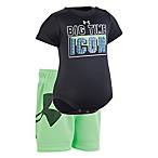 Under Armour® Size 0-3M 2-Piece Big Time Icon Bodysuit and Short Set in Black/Green