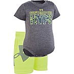 Under Armour Size 3-6M 2-Piece Can't Stop The Hype Bodysuit and Short Set in Black/Green