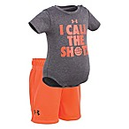 Under Armour® Size 0-3M 2-Piece Call The Shots Bodysuit and Short Set in Orange/Grey