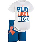 "Under Armour® Size 0-3M ""Like A Boss"" Bodysuit and Short Set in Blue/Orange"