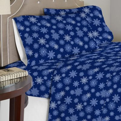 Pointehaven 175 GSM Snowflakes Flannel Full Sheet Set In Navy
