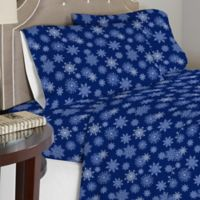 Pointehaven 175 GSM Snowflakes Flannel Queen Sheet Set in Navy