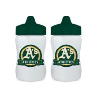 Baby Fanatic® MLB Oakland Athletics 9 oz. Sippy Cups in Green/Yellow (Set of 2)