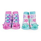 Waddle Size 0-12M 2-Pack Starfish Rattle Baby Socks in Pink/Aqua